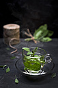 Tea glass of steaming sage tea with sage leaves - CZF00293