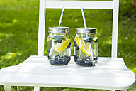 Two glasses of infused water with lemon slices, blueberries and mint on garden chair - LVF06253