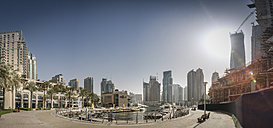 United Arab Emirates, Dubai, Panoramic View of Dubai Marina from its north-eastern tip - NKF00474