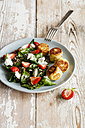 Plate of spinach salad with falafel, goat cheese, strawberries and sunflower seed - EVGF03258