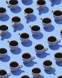 Coffee cups on light blue ground, 3D Rendering - DRBF00012