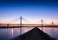 UK, Scotland, Fife, Edinburgh, Firth of Forth estuary, Queensferry Crossing Bridge at sunset - SMAF00814
