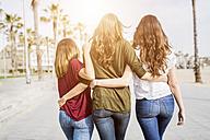 Rear view of three female friends strolling on the boardwalk - GIOF03003