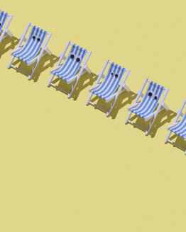 Row of beach chairs with eyes on yellow ground, 3D Rendering - DRBF00028
