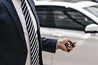 Businessman using remote control key of car, partial view - KNSF02391
