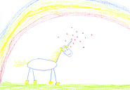 Child's drawing of unicorn on paper - CMF00705