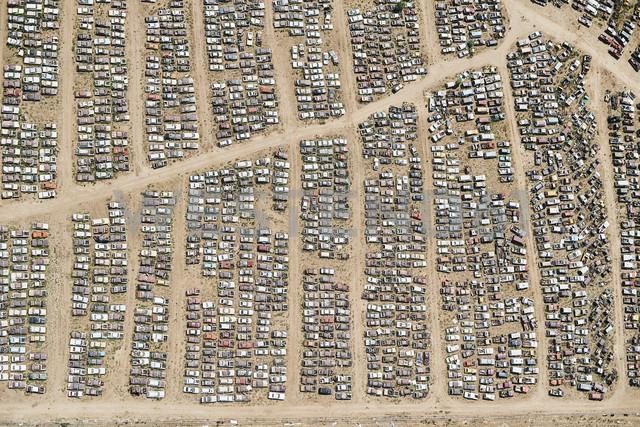 USA, Aerial of a car junkyard in Eastern Colorado - BCDF00329