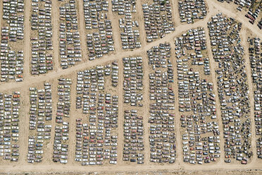 USA, Aerial of a car junkyard in Eastern Colorado - BCDF00329