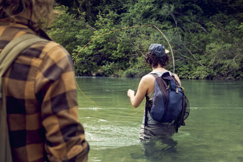 Slovenia, two men fly fishing in Soca river - BMAF00309