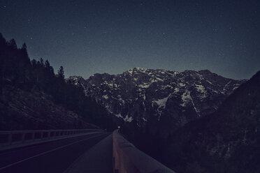 Slovenia, Bovec, starry sky at night near Soca river - BMAF00345