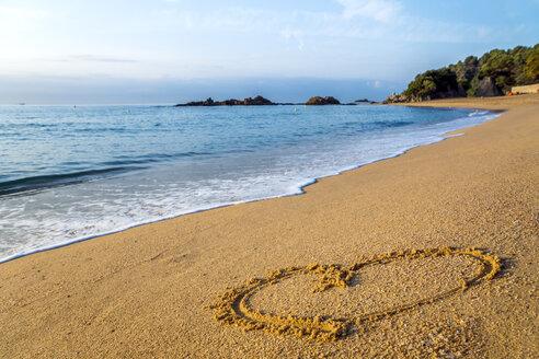 Spain, Catalonia, Lloret de Mar, heart drawn on the beach - PUF00662
