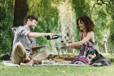 Couple with dog having a picnic in a park drinking red wine - ALBF00159