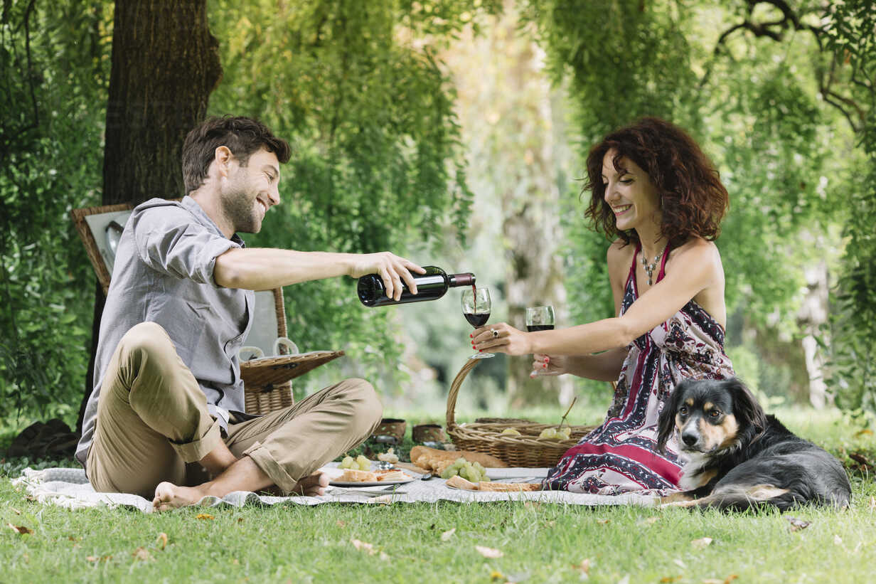 Couple with dog having a picnic in a park drinking red wine - ALBF00159 - Alberto Bogo/Westend61