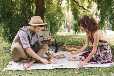 Happy couple having a picnic in a park - ALBF00168