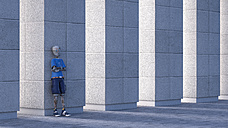 Robot leaning against a column, 3d rendering - AHUF00419