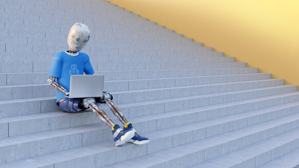 Robot sitting on stairs using laptop, 3d rendering - AHUF00422