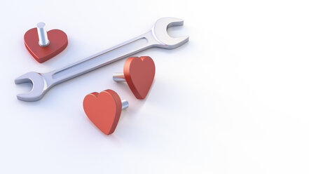 Screw wrenches and heart-shaped screws, 3d rendering - AHUF00425