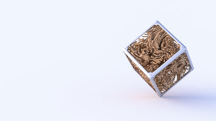 Abstract metal and wooden cube, 3d rendering - AHUF00428
