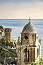 Italy, Liguria, Cinque Terre, Vernazza, towers and Ligurian Sea - CSTF01386