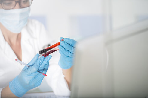 Close-up of lab technician examining test tubes with liquid in laboratory - ZEF14495