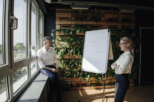 Businessman and businesswoman working with flip chart in green office - JOSF01389