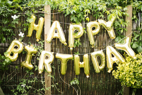 Decoration for Birthday Party in garden with golden balloons - MOEF00132