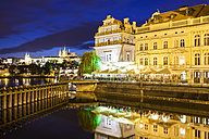 Czech Republic, Prague, Hradcany, castle, Bedrich Smetana Museum and Club Restaurant Lavka at night - WDF04098