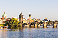 Czech Republic, Prague, Vltava and Old Town Bridge Tower on Charles Bridge - WDF04134