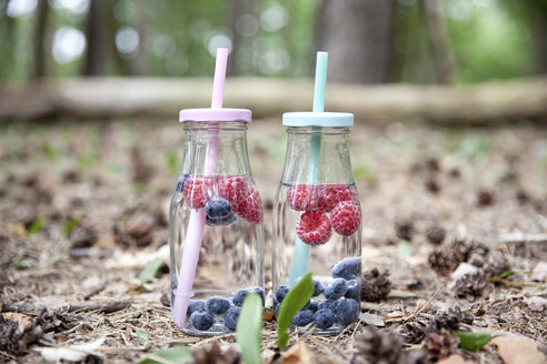 Two glasses of infused water with blueberries and raspberries in forest - MFRF00981