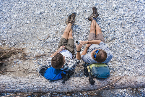 Two hikers having a rest, top view - DIGF02794