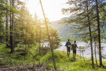 Germany, Bavaria, back view of two hikers with backpacks - DIGF02821