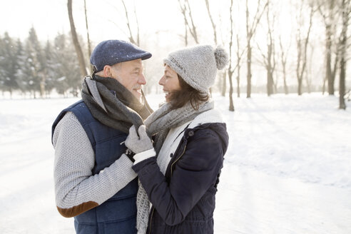 Happy senior couple in winter landscape - HAPF02158