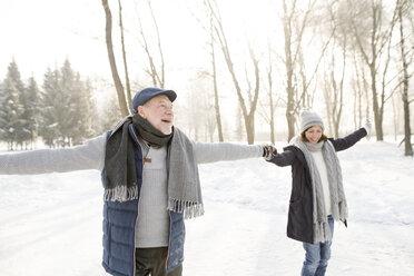 Happy senior couple ice skating - HAPF02164