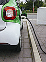 Germany, Lower-Saxony, Osnabrueck, Electric car being charged at a charging station. - HAWF00969