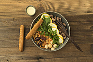 Vegetarian  and vegan salad with whole grain pasta, vegetables, chickpeas and yogurt sauce - ECF01889