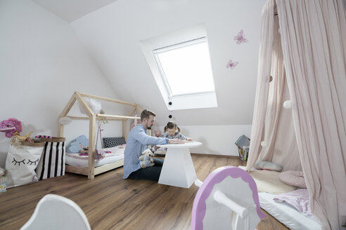 Father and daughter in her nursery - SBOF00593