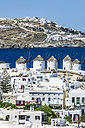 Greece, Mykonos, townscape with five historical windmills - THAF02038