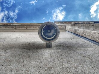 lamp on a wall, frog perspective, futuristic, blue sky with clouds, Berlin, Germany - NGF00401
