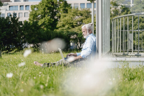 Mature man using laptop on meadow - JOSF01733