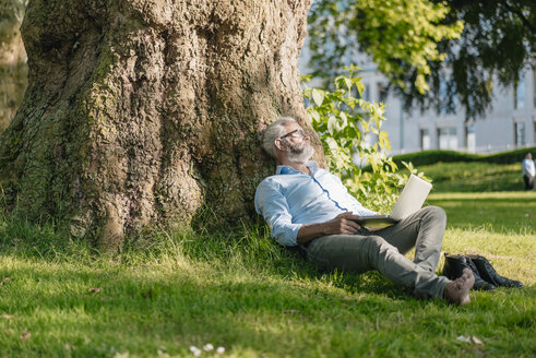 Mature man with laptop relaxing in park - JOSF01742