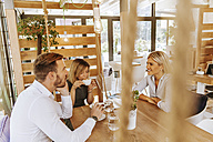 Three friends meeting in a cafe - ZEDF00841