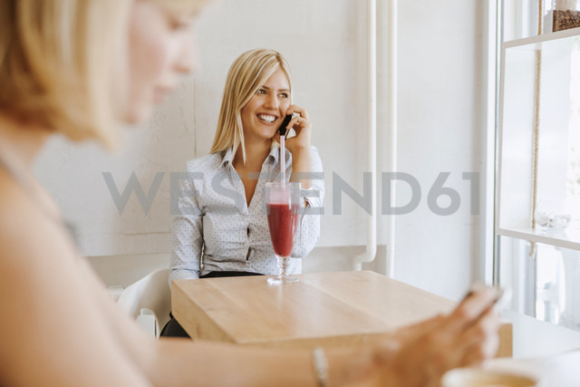Young women on cell phone in a cafe - ZEDF00868