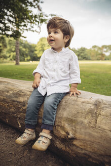 Happy toddler sitting on tree trunk in park - MFF03966
