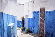 Morocco, alley with blue and white painted walls - SIPF01766