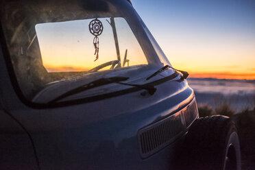 Spain, Tenerife, parked van at El Teide by twilight - SIPF01774