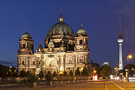 Germany, Berlin, lighted Berliner Dom and television tower at night - WIF03436