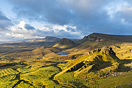 UK, Scotland, Inner Hebrides, Isle of Skye, Trotternish, morning mood above Quiraing, view towards Loch Cleat - FOF09372