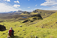 UK, Scotland, Inner Hebrides, Isle of Skye, Trotternish, Quiraing, hiker looking towards Loch Cleat - FOF09381