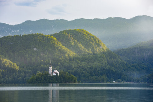 Slovenia, Bled,  Bled island and Church of the Assumption of Maria - LOMF00621
