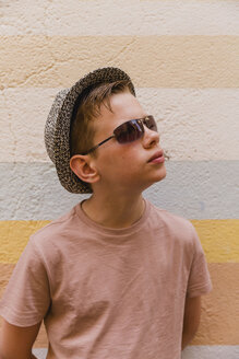 Portrait of boy wearing sunglasses and hat - NMSF00174